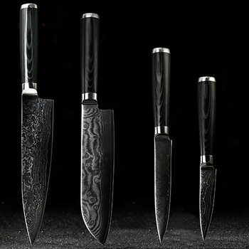 """FINDKING Damascus knives set 8 inch chef knife 7.5 inch santoku 5 inch utility 3.5\"""" paring kitchen damascus steel knife kits - DISCOUNT ITEM  44 OFF Home & Garden"""