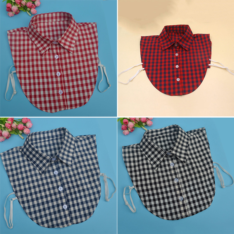 Apparel Accessories Independent Fake Collar Classic Plaid Check Detachable Shirt Fake Collar Detachable False Collar Literary Grid Shirt Clothes Accessories