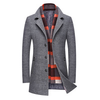 Middle aged man cloth business men's wear scarf collar wool coat lapels male or long trench coat Fashion 2017 new style Overcoat