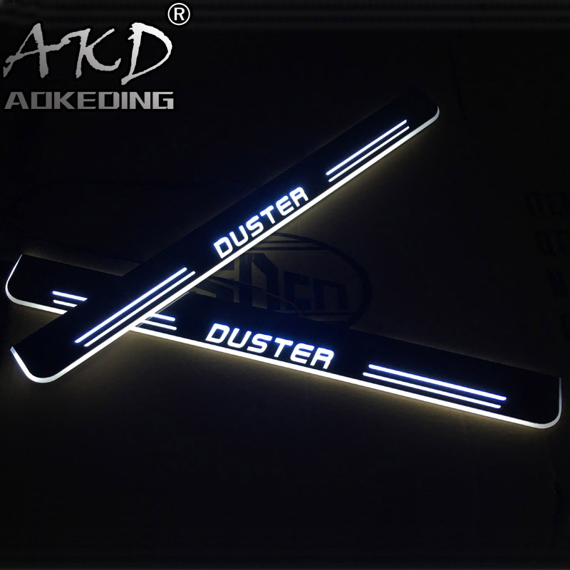 AKD 4PCS Acrylic Moving <font><b>LED</b></font> Welcome Pedal Car Scuff Plate Pedal Door Sill Pathway Light For <font><b>Renault</b></font> <font><b>Duster</b></font> 2015 2016 2017 2018 image