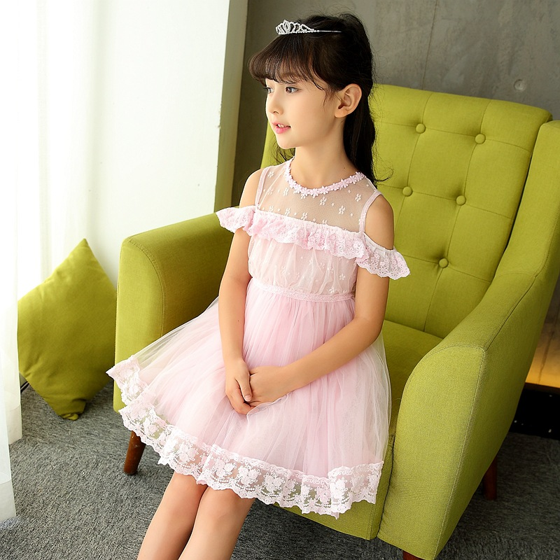 New 2018 Summer Girls Fashion Slim O Neck Short Sleeve Lace Gauze Patchwork A -Line Princess Dress Kids Baby Ruffles Pink Dress цены онлайн
