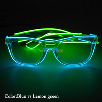 10Pieces Luminous EL Wire Glasses LED Strip Light Glasses with Sound activated Inverter Holiday Lighting Decoration