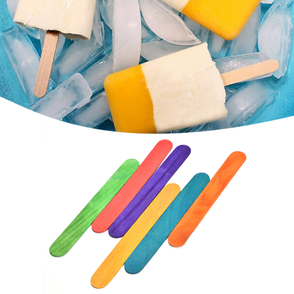 50pcs lot wood popsicle colorful ice cream stick spoon for Making sorbet by hand