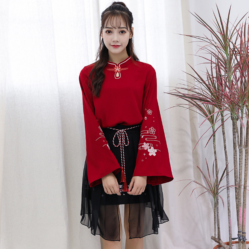 2019 Chinese Style Sakura Embroidery Vintage Tops Skirt Suit Women Grils' Summer Loose T sirt Chiffon Skirt White & Red