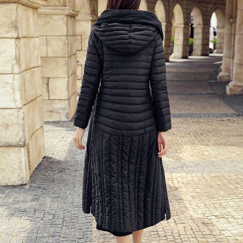 Большой размер женская одежда пальто 2019 зима с капюшоном длинный пуховик женский тонкий собирать талия была тонкий пуховик S-3XL WYT502