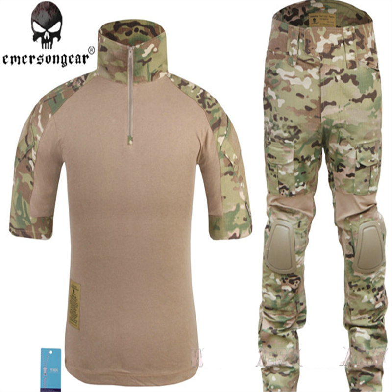 EmersonGear Airsoft Navy Seals Combat Costumes D'été Édition Genou Pad à manches courtes Kryptek Highlander AOR2 AOR1 MC JD ATFG