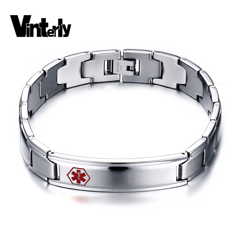 Vinterly Men's Medical Chain Alert Id Bracelet Bangle Man 316l Stainless  Steel Bracelets For Men Christmas