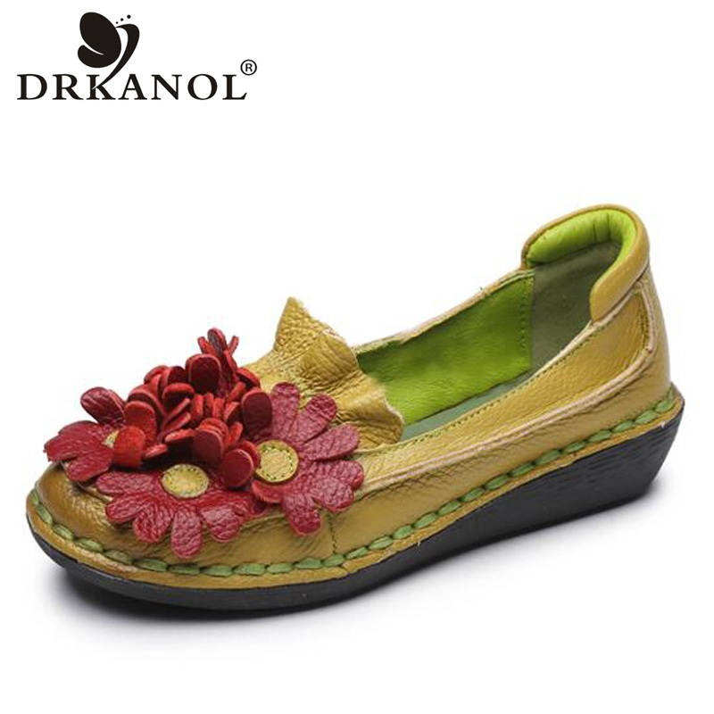 DRKANOL New Design Handmade Genuine Leather Slip On Loafers Women Casual Flat Shoes Sweet Flowers Round Toe Flats Mother Shoes мото шлем shark raw