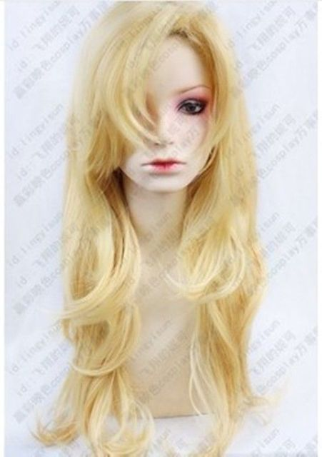 FREE SHIPPING Hot heat resistant Party hair>>>HOT~IB Mary blond wavy long Cosplay Party Fashion Wig 80cm