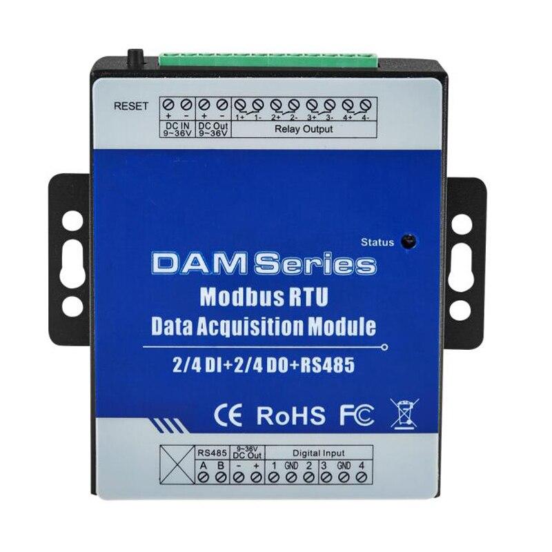 Modbus RTU IO Module 4 entrées Numériques contrôle 4 Numérique Relais Sortie Répéteur Extensible Modules pour S27X MXX Seris DAM112