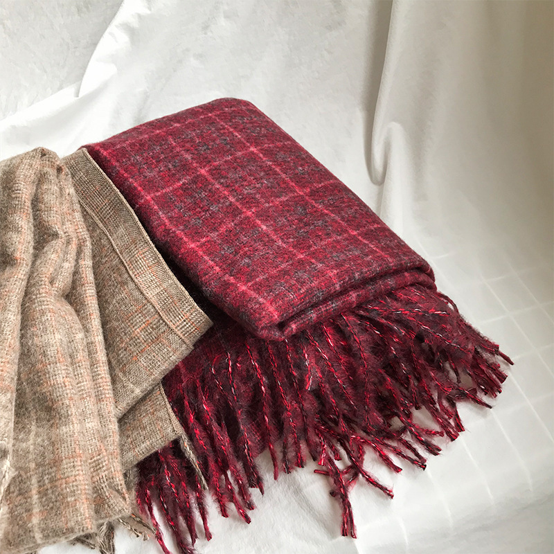 e271bb5e356d0 Red, Gray Beige Plaid & Tartan Infinity Scarf Fashion Warm Cozy Scarves  0.27kg