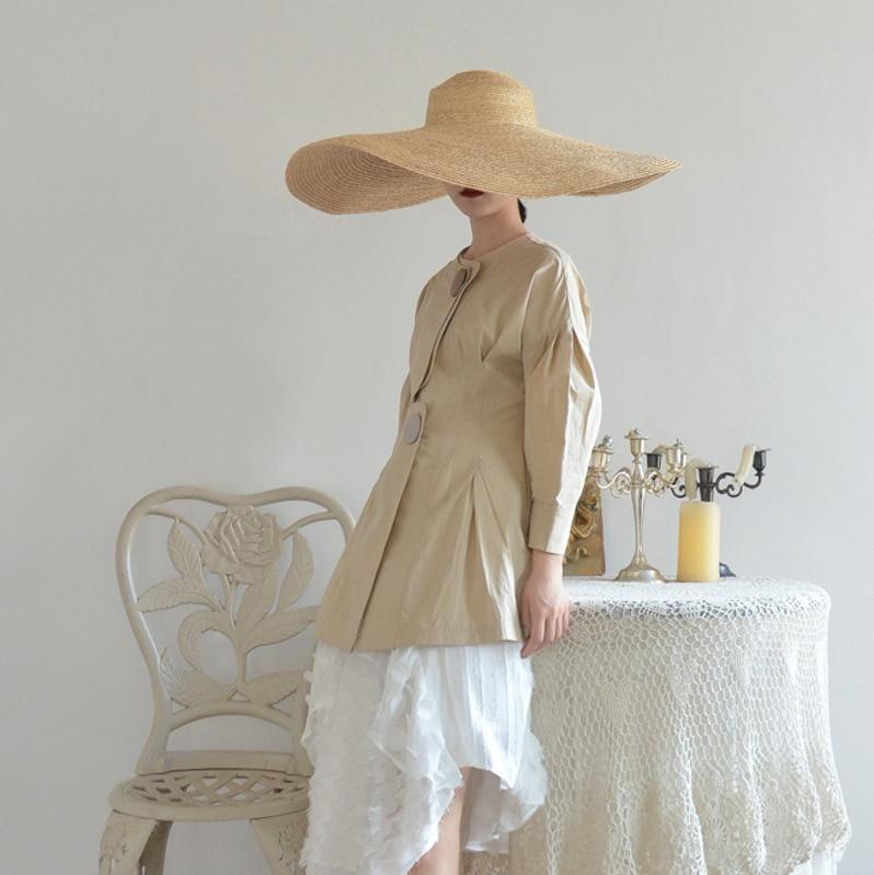 eam 2019 Gros Bouton Causalité Nouveau Femmes Marée Printemps Mince Poches O Lâche Mode Complet De Collier Khaki Ob372 Manteau Taille Manches r1rBfdx