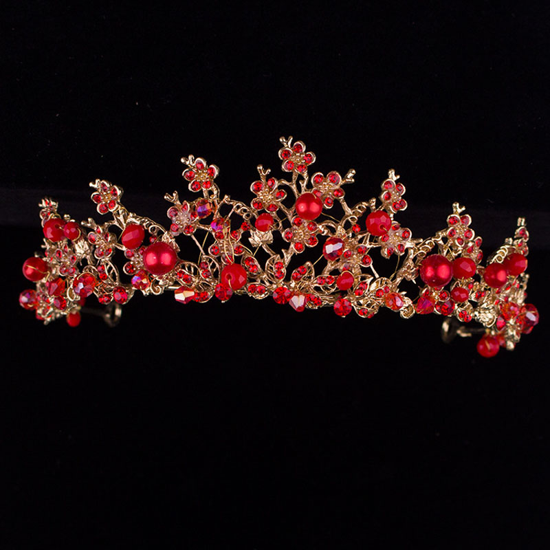 Handmade Red Gold Crystal Wedding Tiara Bridal Headband Hair Accessories Vintage Women Hair Jewelry Tiaras Crowns