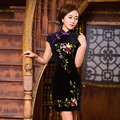 TIC-TEC chinese cheongsam short qipao women velvet embroidery classical slim tradicional party oriental dresses clothes P3095