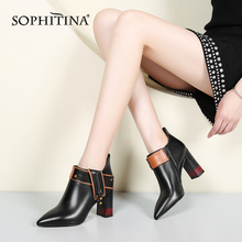 SOPHITINA Sexy Pointed Toe Boots High Quality Cow Leather Fashion Mixed Colors Square Heel Shoes New Special Ankle Boots PO218 mixed colors mesh leather women open toe ankle boots sexy lace up side ladies high heel boots zipper back fashion dress shoes