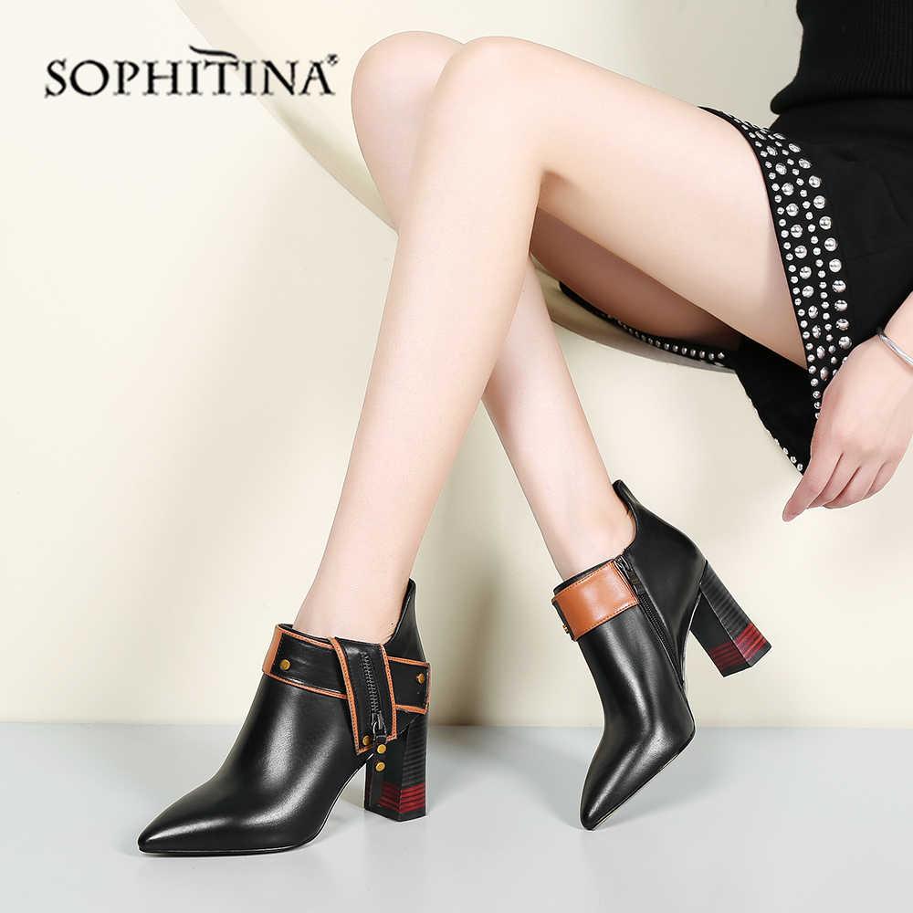 SOPHITINA seksi sivri burun çizmesi yüksek kaliteli inek deri moda karışık renkler kare topuk ayakkabı yeni özel yarım çizmeler PO218