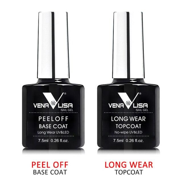 #61508 Venalisa ג 'ל נייל 7.5 ml למעלה מעיל למעלה + בסיס מעיל בסיס עבור UV ג' ל פולני הטוב ביותר על עלי חדש סגנון נייל לכה לכה