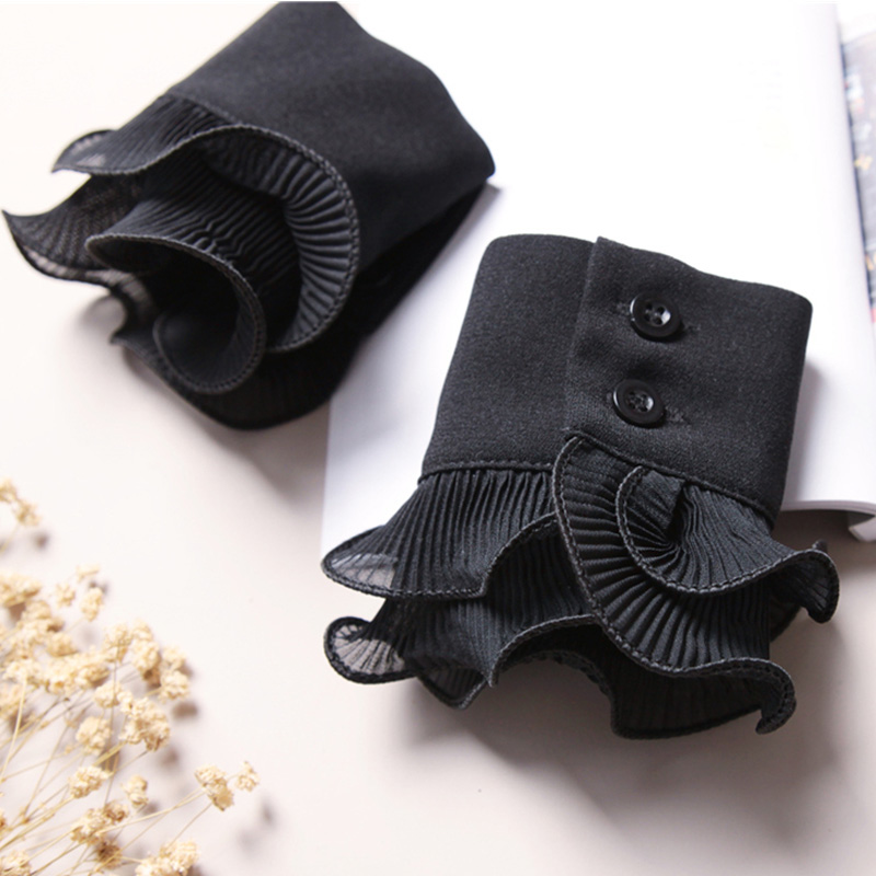 Decorated Cuff Fake Sleeves Autumn And Winter Wild Sweater Decorative Sleeves Flounces Buttoned Wrist Sleeves Lace Pleated Wrist