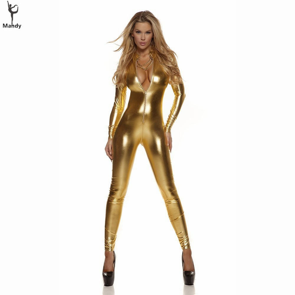 Adult One Piece Spandex Sexy Womens Mock Neck Shiny Metallic Gold Catsuit Footless Zip Front Unitards Clubwear Stripper Costume