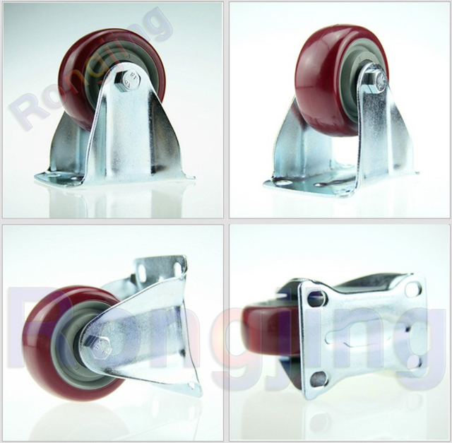 New 3'' Furniture Fixed Caster Polyurethane PU Wear-resisting Wheel Palted With Double Bearing Castors