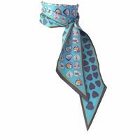 Heart New Style Print Lady Neck Bags Decoration Silk Twilly Skinny Scarf Small Ribbon Hair Band