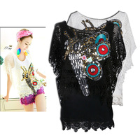 New knitted hollow hand made nail bead sequins dragonfly netted jacket bottom vest two sets