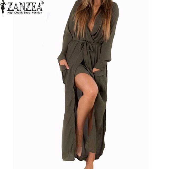 Zanzea moda mujeres 2017 otoño del resorte flojo ocasional v-cuello largo maxi dress sexy dividir gasa dress plus size vestidos