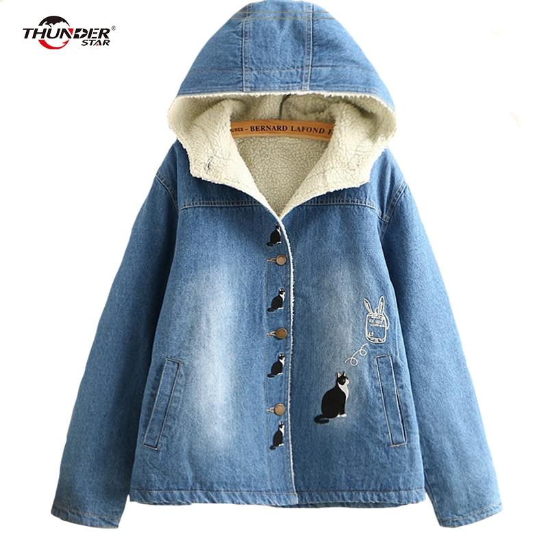 Womens faux lambswool denim jacket coat Women cat embroidery streetwear blue   parkas   female 2018 autumn winter warm outerwear