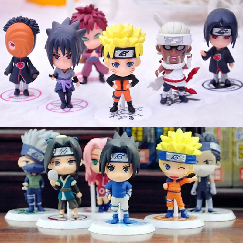 6st / lot PVC Naruto actionfigur set Q Edition Toy Collection Uchiha Sasuke Itachi Japanska anime figurer Gaara Modellleksak