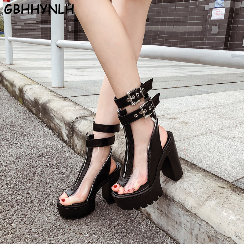 GBHHYNLH Womens summer Boots gladiator sandals open Toe Ankle Thick Heel High Heels Shoes Female Transparent LJA730