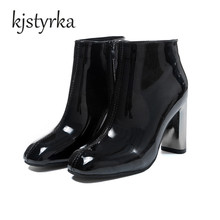 Women Ankle Boots 9CM Heels Shoes Square Toe womens boots Thick Heel Patent Leather warme laarzen Shoes for Winter bayan bot