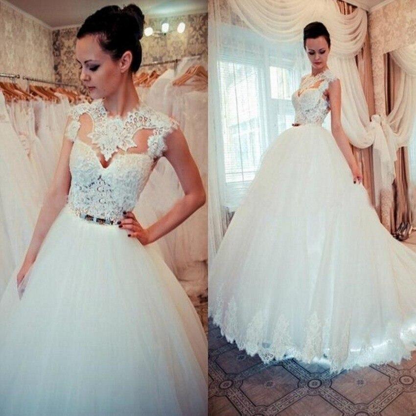 Cap Sleeve Wedding Dresses: Custom Cap Sleeve 2016 New Elegant White Ivory Lace Tulle