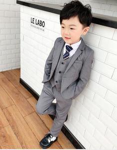 Image 2 - Czerwony/szary 3 sztuk czarny berbeć chłopcy garnitury ślubne formalne dzieci garniturowy blezer Tuxedo ubrania imprezowe kurtka + kamizelka + spodnie