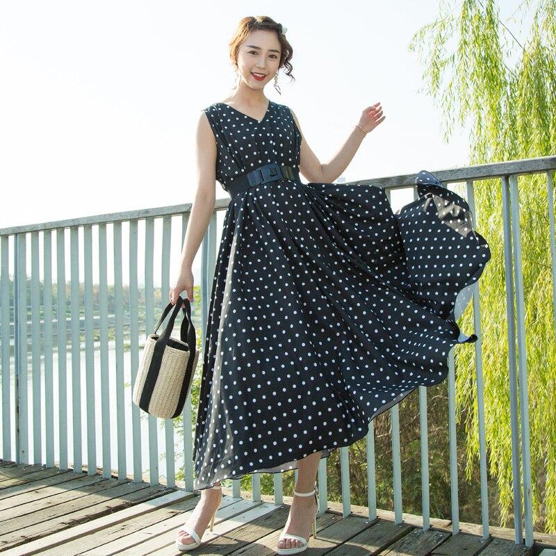 45662bd1bd85e Vintage Femmes Soirée Partie Sexy Femme Robes V Haute Style Black Bohème De  cou Polka Élégant ...