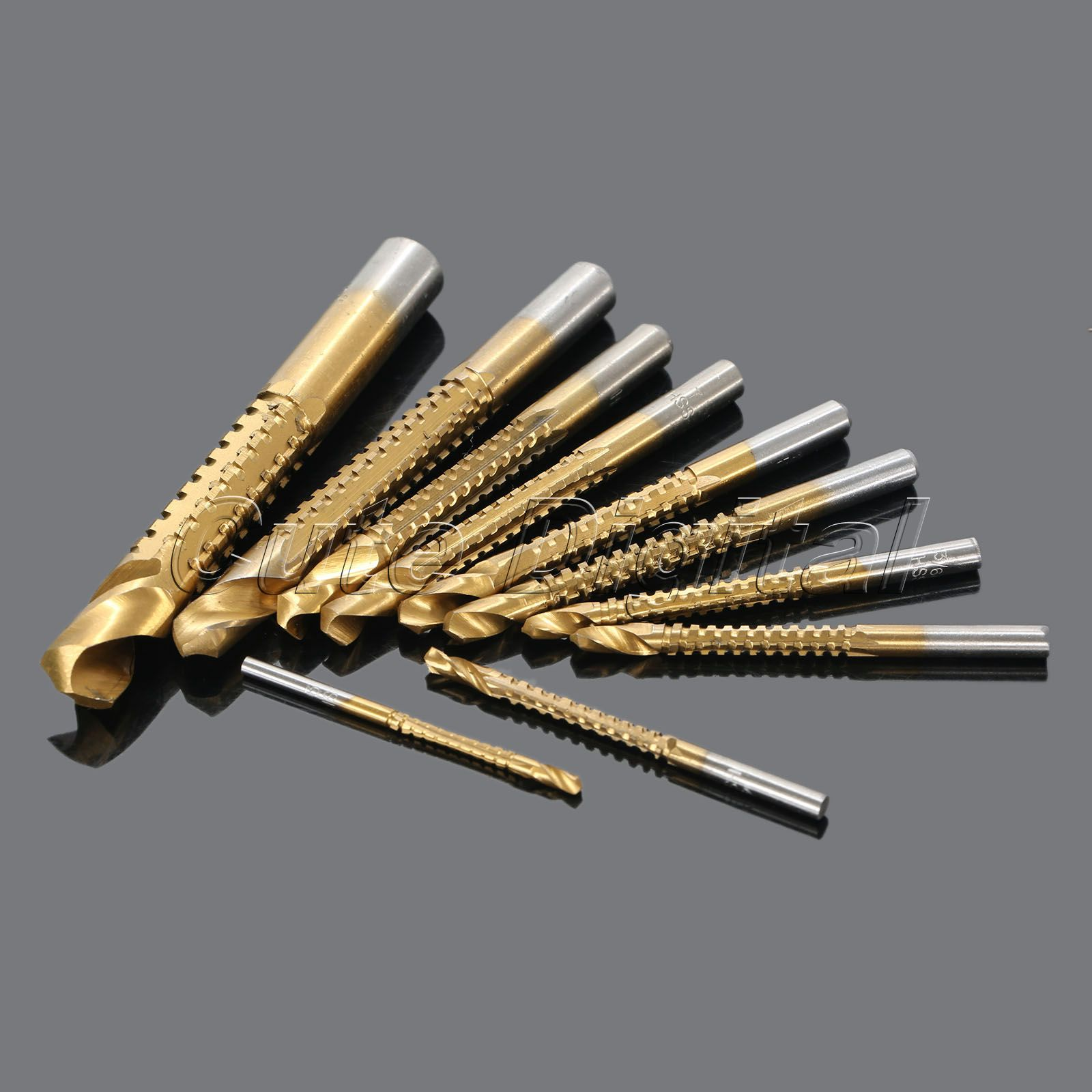 10Pcs/set Titanium Coated HSS High Speed Steel Saw Drill Bit Set Cutter Tools Woodworking Hole Saw Drill Bits Power Tools 3-13mm jelbo cone step drill hole tools countersink 3pc drill bit set power tools step drill bit for metal power tools set hole cutter