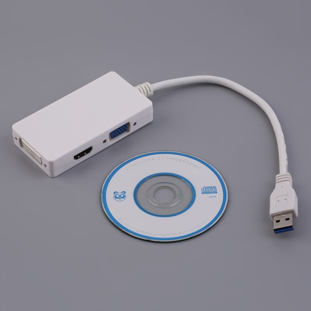 In Stock! 3-in-1 Multi Function USB 3.0 to HDMI DVI VGA Adapter HD Video Converter HOT