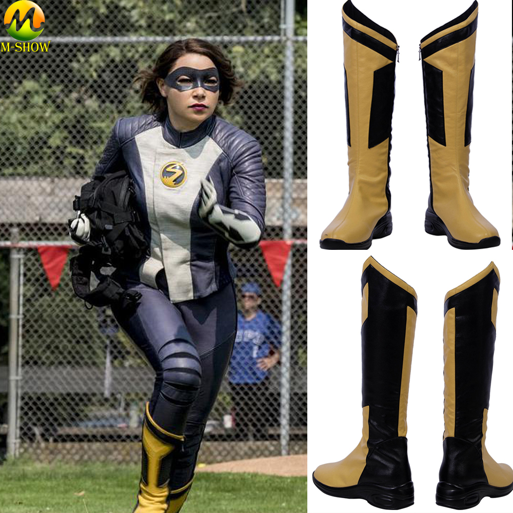 The Flash Season 5 Iris West Nora Cosplay Costume Boots Iris West Leather Shoes Woman Halloween Cosplay Customized Boots