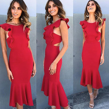 Conmoto 2019 Ruffles Red Party Dress Women Robe Femme Dresses Solid Sexy Bodycon