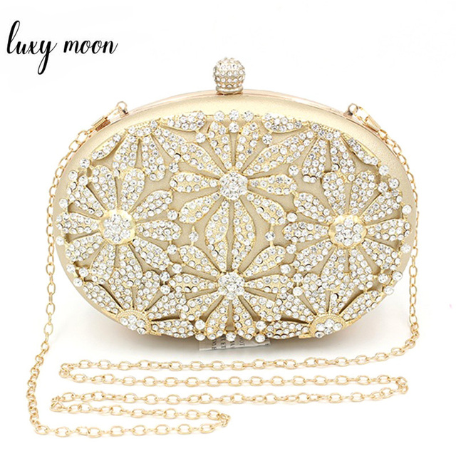 Exquisite Evening Bags For Women Hollow Rhinestone Flower Day Clutches Lady  Wedding Party Purse Unique Egg 0adb086d2ade1