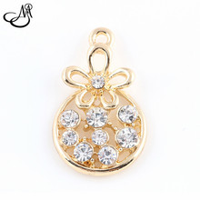 50pcs lot Gold alloy crystal dangle charms flower hanging charm pendant bracelet accessories diy jewelry FA413