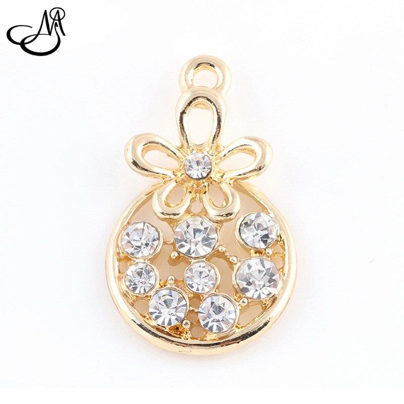 50pcs lot font b Gold b font alloy crystal dangle charms flower hanging charm pendant font