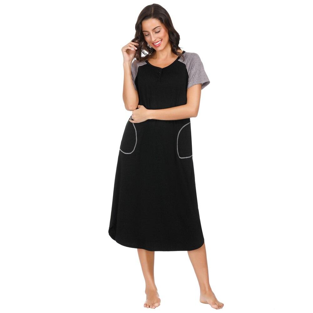 Women nightdress summer ladies Comfy Short Raglan Sleeve Cotton Breastfeeding loose midi Dress   Nightgown   ladies   sleepshirts