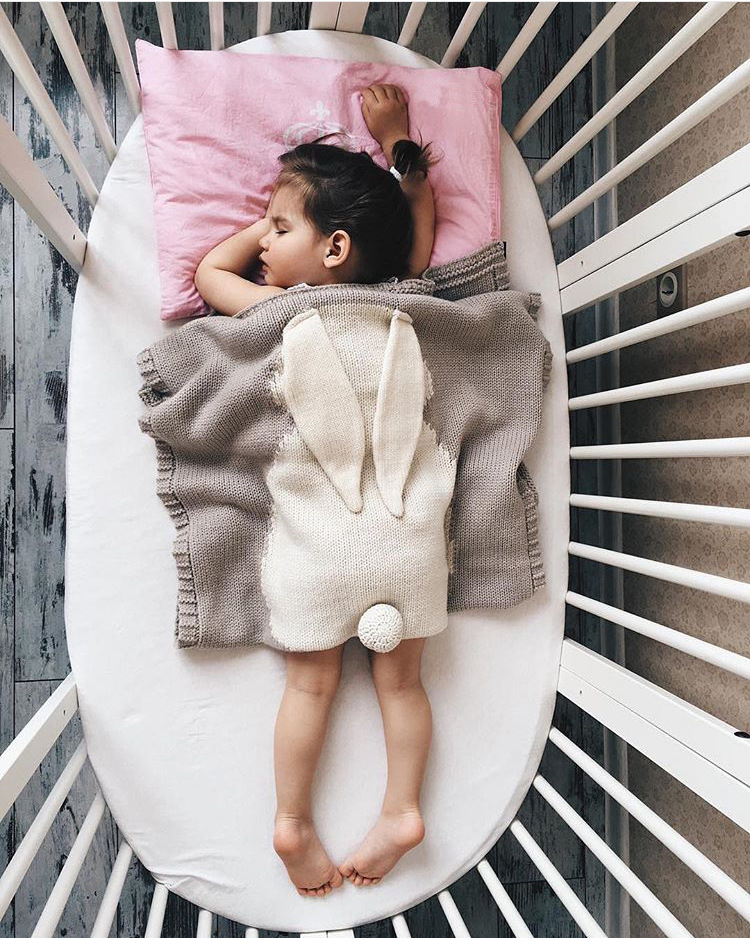 100*130CM New Toddler baby bedding Knitted blanket Wrap Soft blankets Newborn big rabbit Ear baby swaddle