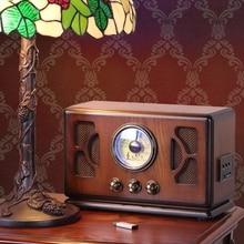Retro Wooden HIFI Radio AM/FM 2x4W Mini Desktop Speakers Support Bluetooth U Disk SD/MMC Card Playing High sensitivity