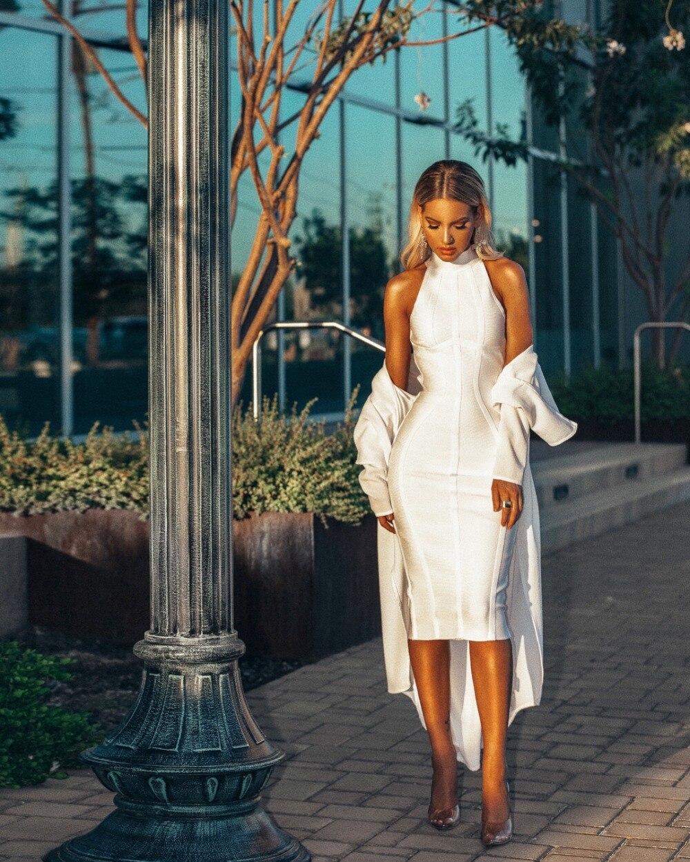 Nachdenklich Neue Ankunft 2018 Sommer Frauen Kleid Großhandel Weiß Halter Neck Bandage Kleid Party Kleid Dropshipping Kleid + Anzug Reine WeißE