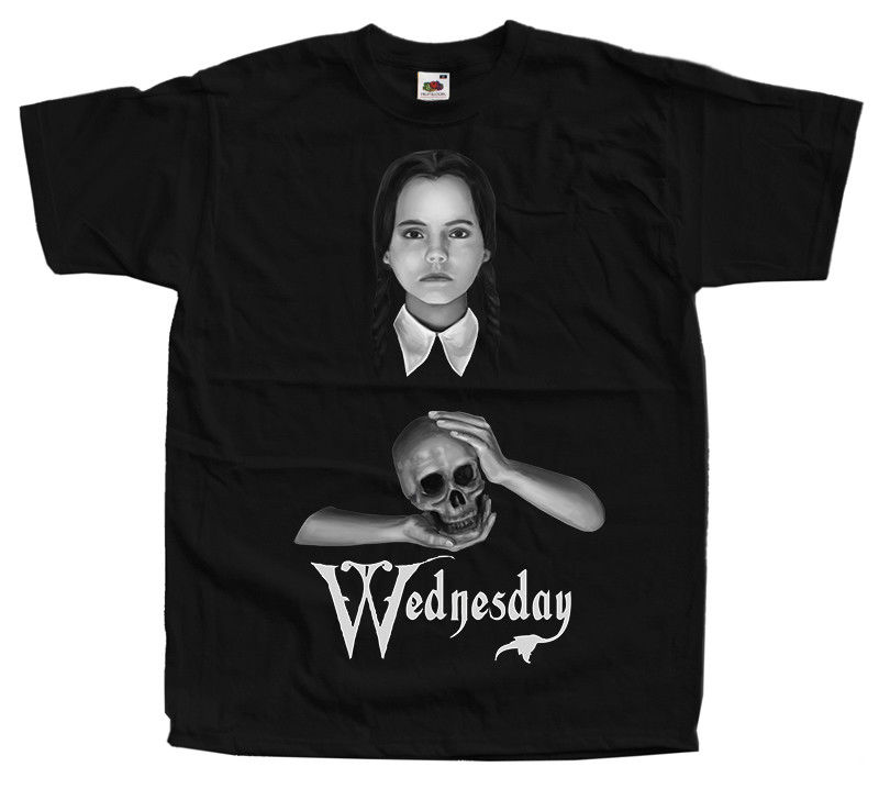 The Addams Family Wednesday Movie Poster Homme Funny Tshirts Hip Hop Clothing T Shirts Gym King T-Shirt Brand
