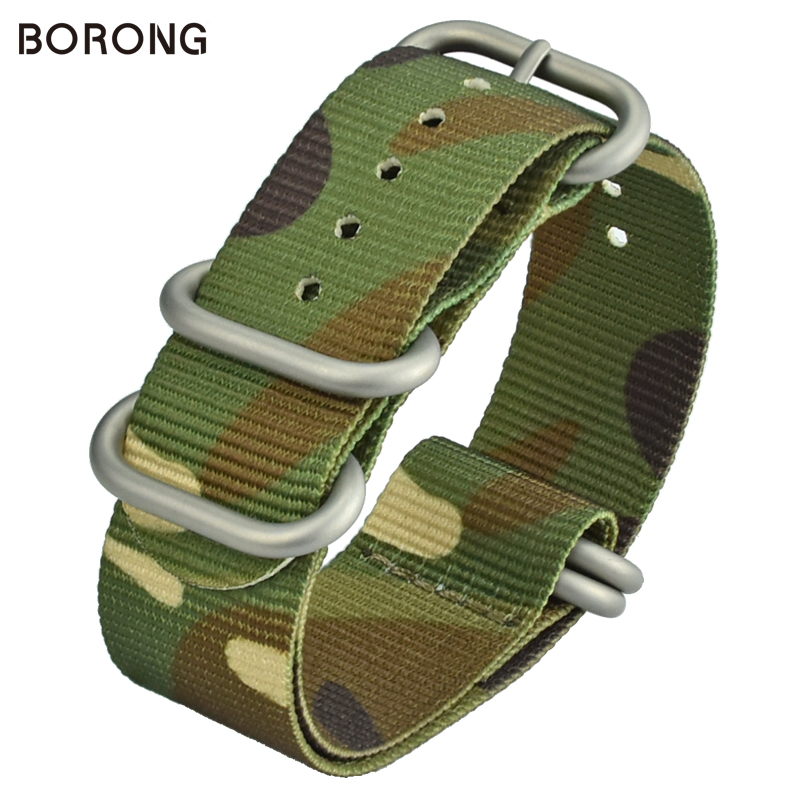 BORONG Nylon Replacement Watchband NATO Camo Strap 22MM Military Army Sport Ultra-thin Braid Fabric Watch Strap for Men WatchesBORONG Nylon Replacement Watchband NATO Camo Strap 22MM Military Army Sport Ultra-thin Braid Fabric Watch Strap for Men Watches