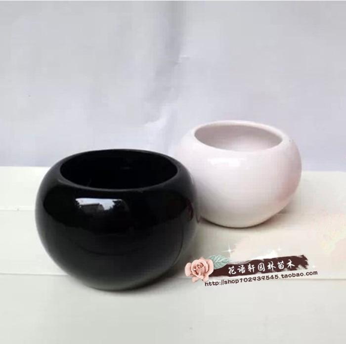 Small Round Ceramic Flower Pot Black White Flower Wholesale Flower