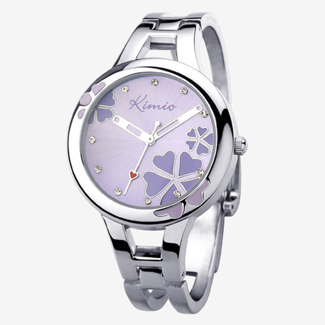 2018 Women Kimio Brand Quartz Bracelet Wristwatch Stainless Steel Clover Crystal