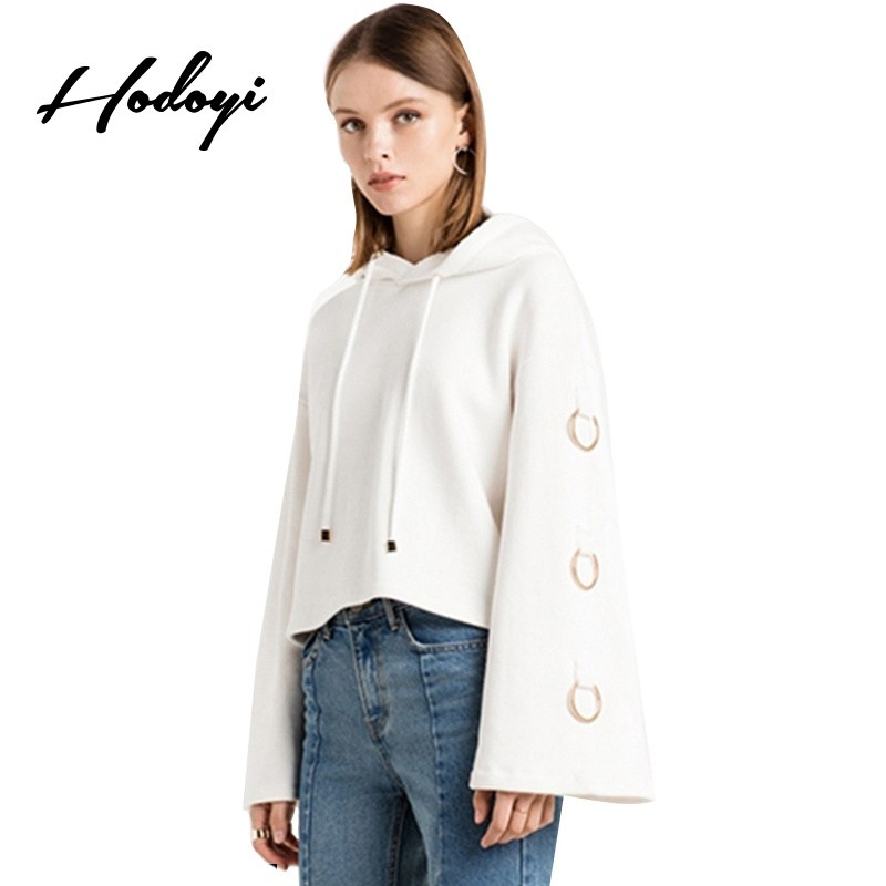 Hodoyi 2017 Autumn White Sweet Casual Sweather Women Tops Female Pullover Hoodie Long Sleeve Metal Ring Chic Sweatshirt